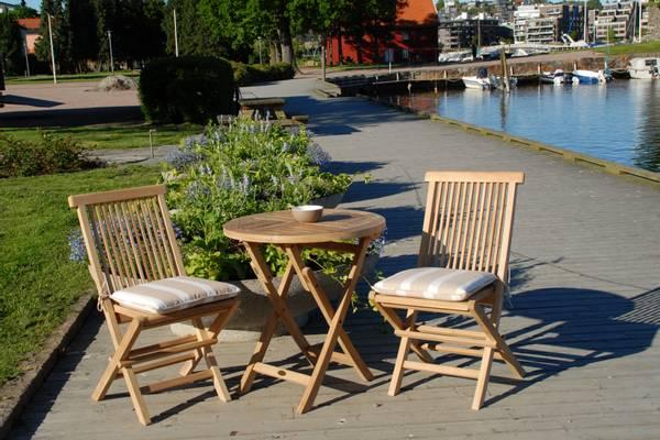 Bilde av Global sett 2 klappstoler+bord Ø80 cm - teak