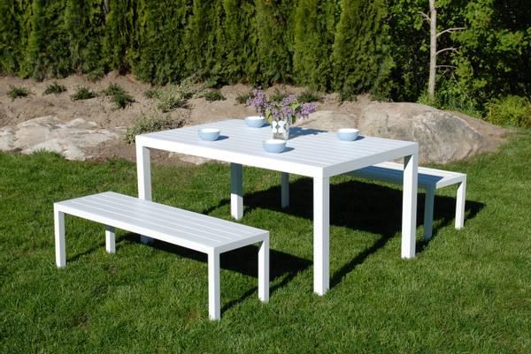 Bilde av Atlantis sett 2 benker+bord - hvit