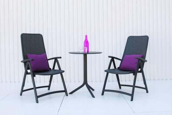 Bilde av Nardi Darsena sett 2 posisjonsstoler+bord Ø60 cm - antrasittgrå