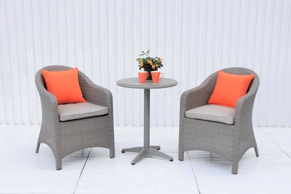Bilde av Selma sett 2 stoler m/puter+bord Ø60 cm - gråtone/patinagrå