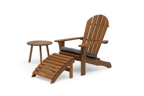Bilde av Tennessee sett adirondack stol m/fothviler+bord - naturbrun